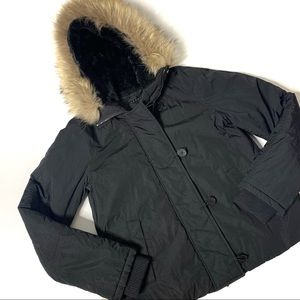 Theory Down Puffer jacket with fur trimmed hood